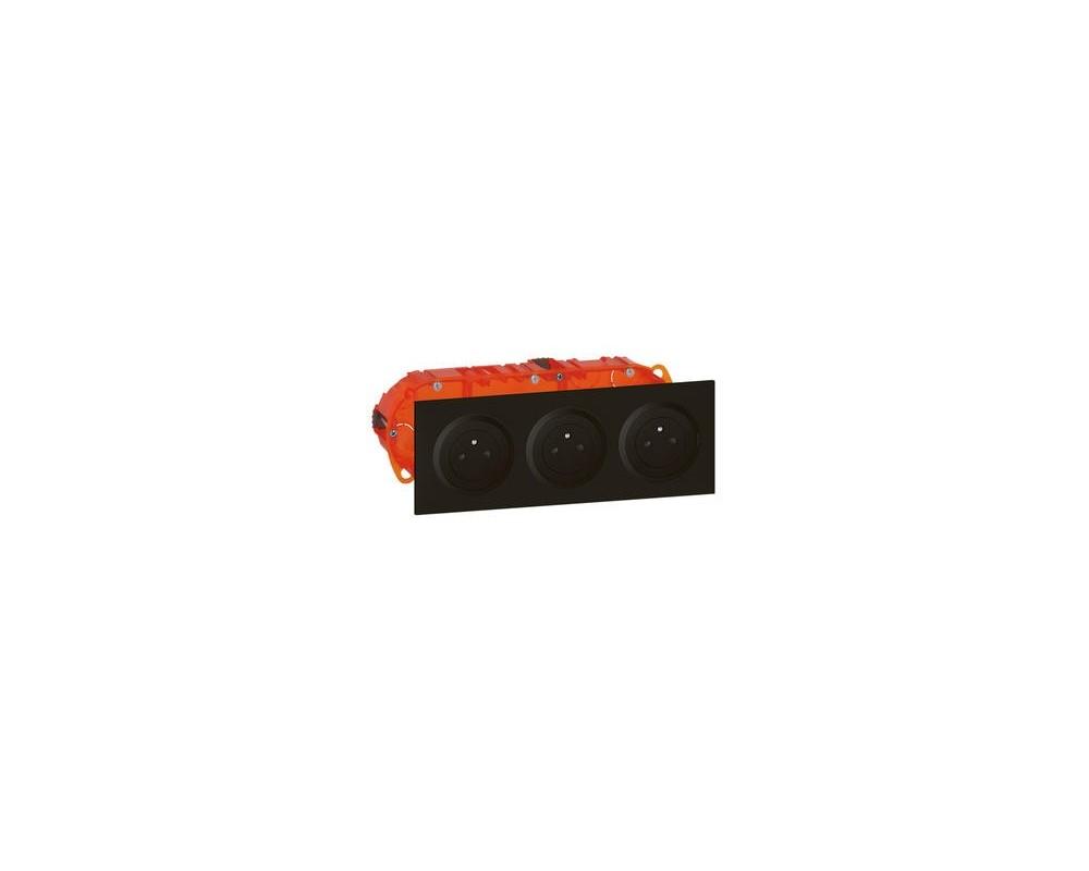 Kit triple prise de courant 2P+T Surface dooxie 16A précâblées finition noir - 300406