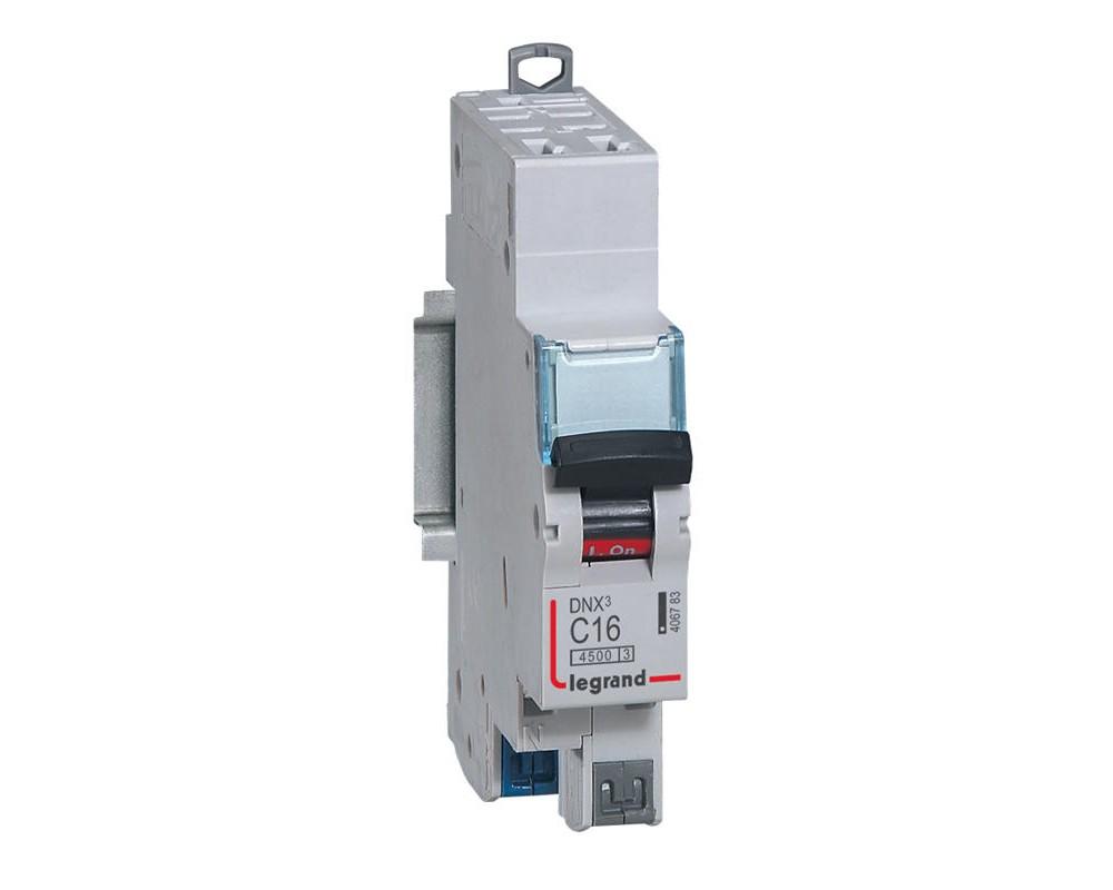 DNX3 Disjoncteur 1P+NG C16 4500A/KA AUTO - LEGRAND - 406783