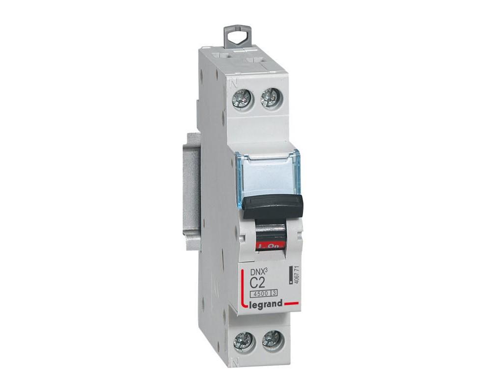 DNX3 Disjoncteur 1P+NG C2 4500A/KA AUTO - LEGRAND 406771