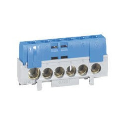 Bornier de neutre - 5 bornes câble 6 à 25 mm² + 1 câble 10 à 35 mm² -bleu - 092784