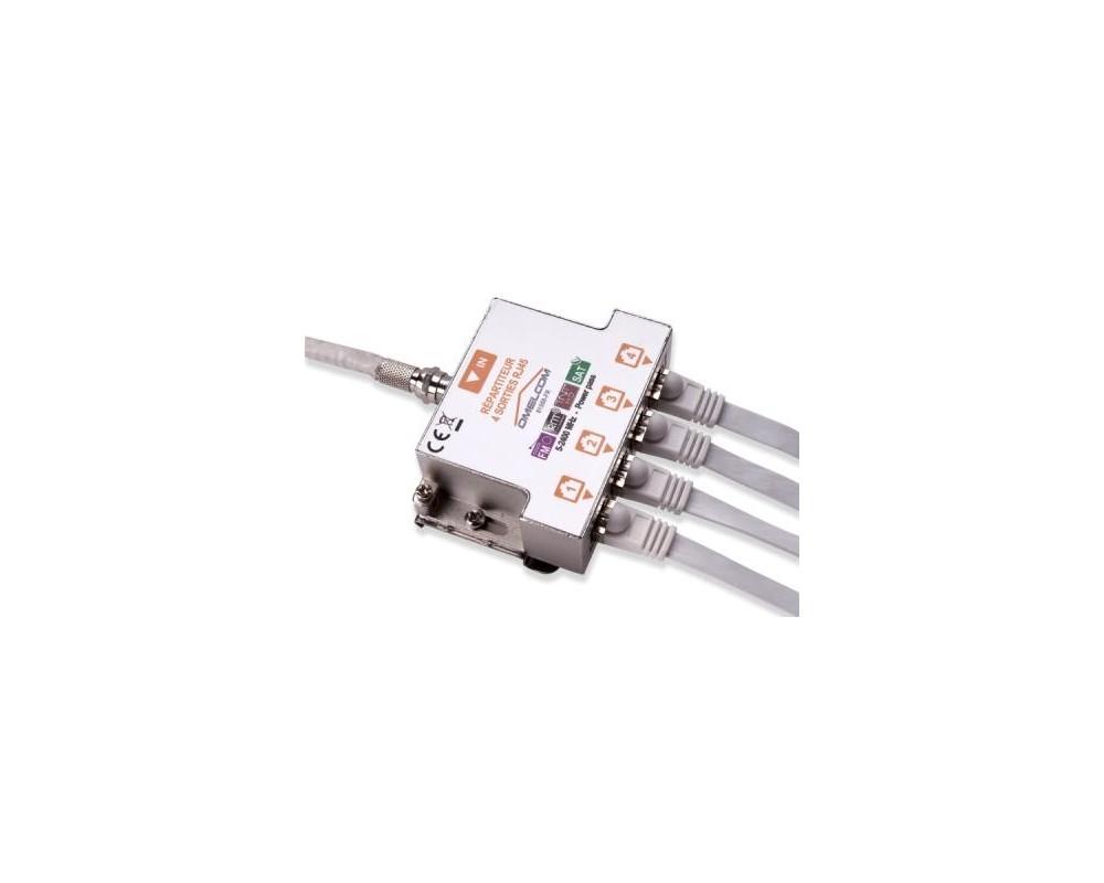 Kit répartiteur TV sur RJ45 4 sorties - GO188