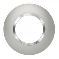 600975-Plaque ronde effet aluminium bague effet chrome