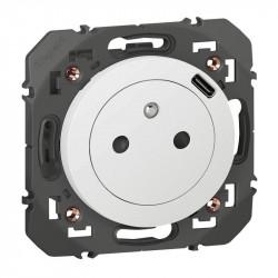 Prise 2P+T Surface avec chargeur USB Type-C dooxie livrée avec support - blanc - 600341