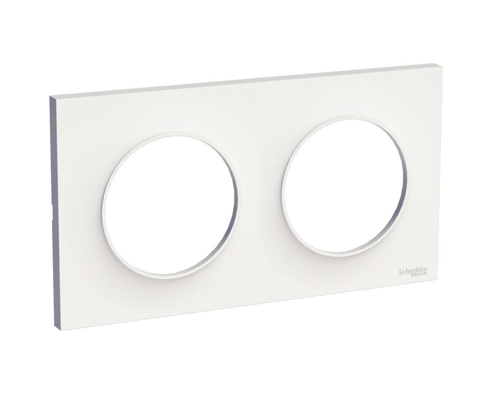 Plaque Odace Styl 2 postes blanche - Schneider Odace - S520704