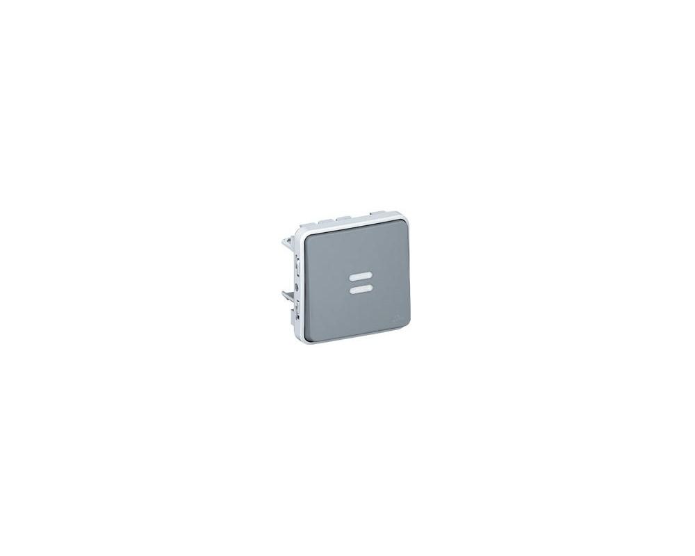 Interrupteur ou va-et-vient lumineux étanche Plexo composable IP55 10AX 250V - gris - 069513