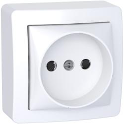 Alréa, prise de courant 2P connexion rapide avec cadre saillie, blanc polaire - ALB62274P
