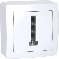 Alréa, Conjoncteur téléphonique 8 plots avec cadre saillie, blanc polaire - ALB62366P