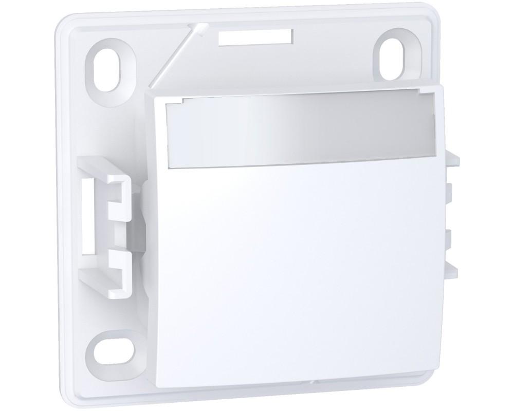 Alréa, Poussoir lumineux à ferm. porte-étiquette forte luminosité, blanc polaire - ALB61063P