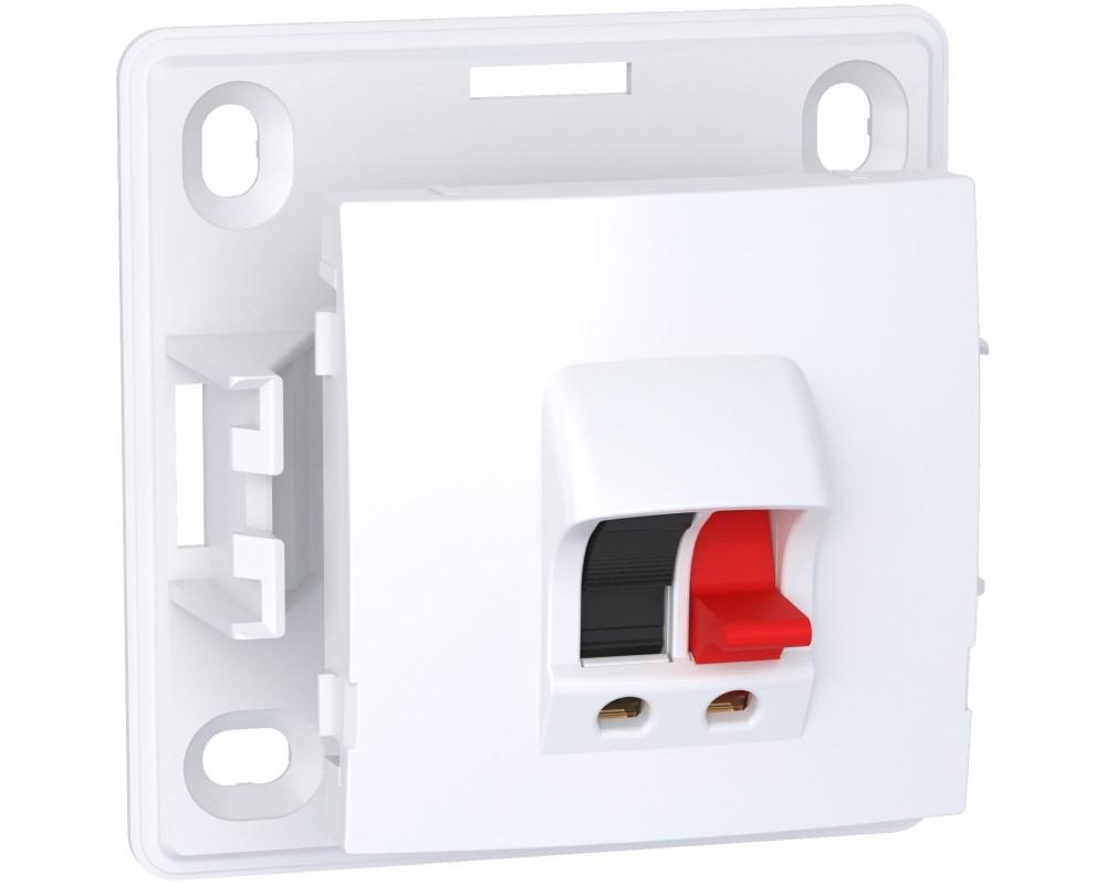 Alréa - prise haut-parleur 1 sortie - blanc RAL9003 - 2 bornes à ressorts - ALB61387P