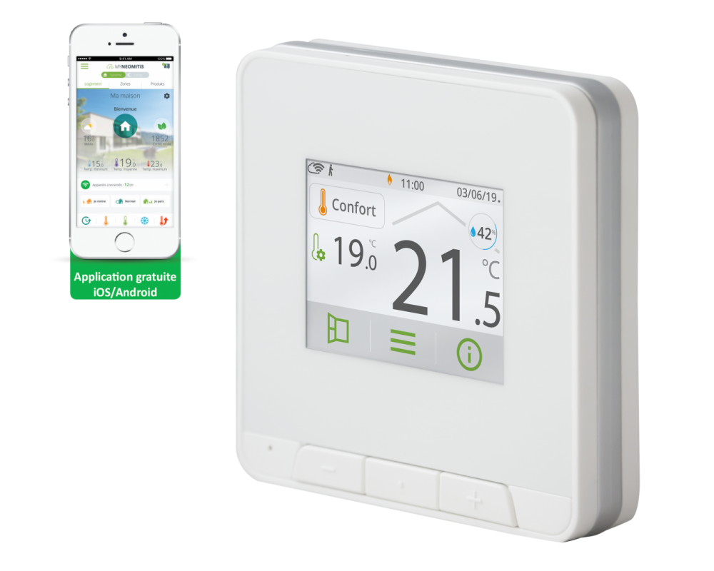 Thermostat d'ambiance Myneo Stat blanc - Néomitis
