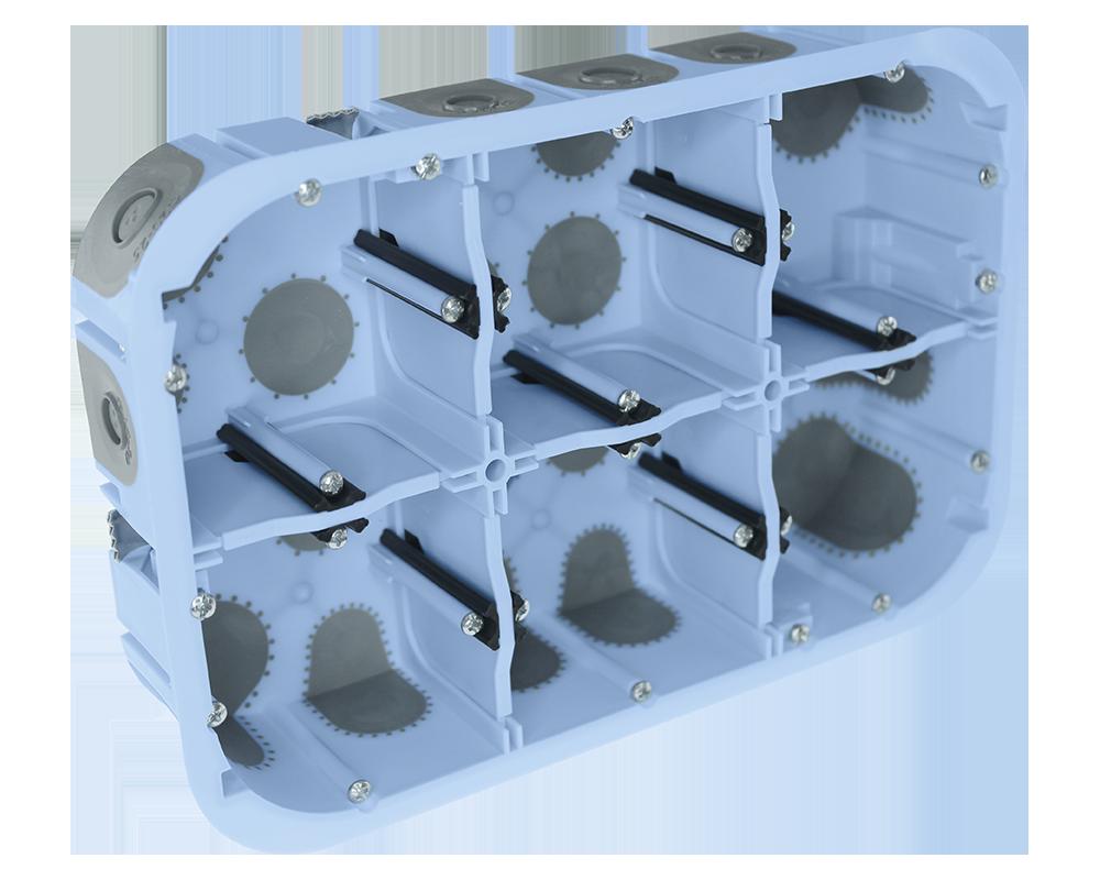 51020 - boîte 6 postes étanche à l'air Ø67 mm P50 mm