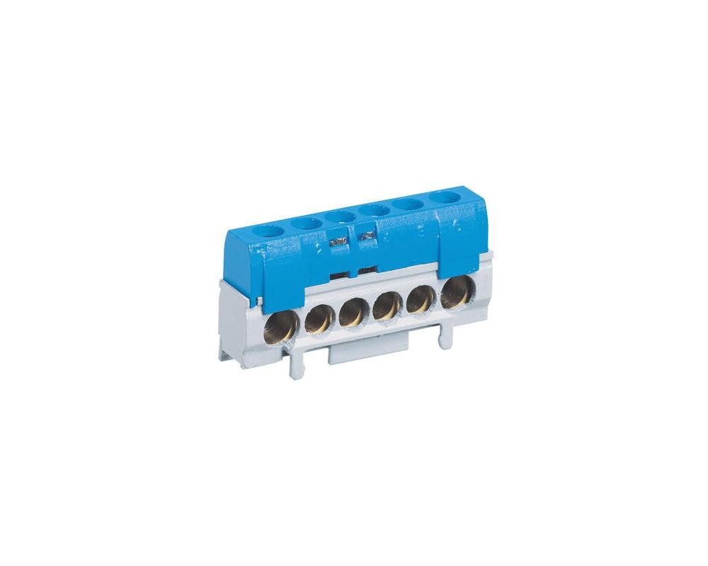 Bornier de répartition IP2X neutre - 1 connexion 10mm² à 35mm² - bleu - legrand - 004815