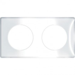 Odace You Transparent, plaque de finition support Blanc 2 postes entraxe 71mm - S520904W