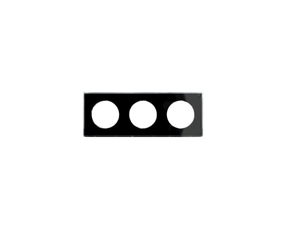 Odace You Noir, plaque de finition support Blanc 3 postes entraxe 71mm - S520906Z