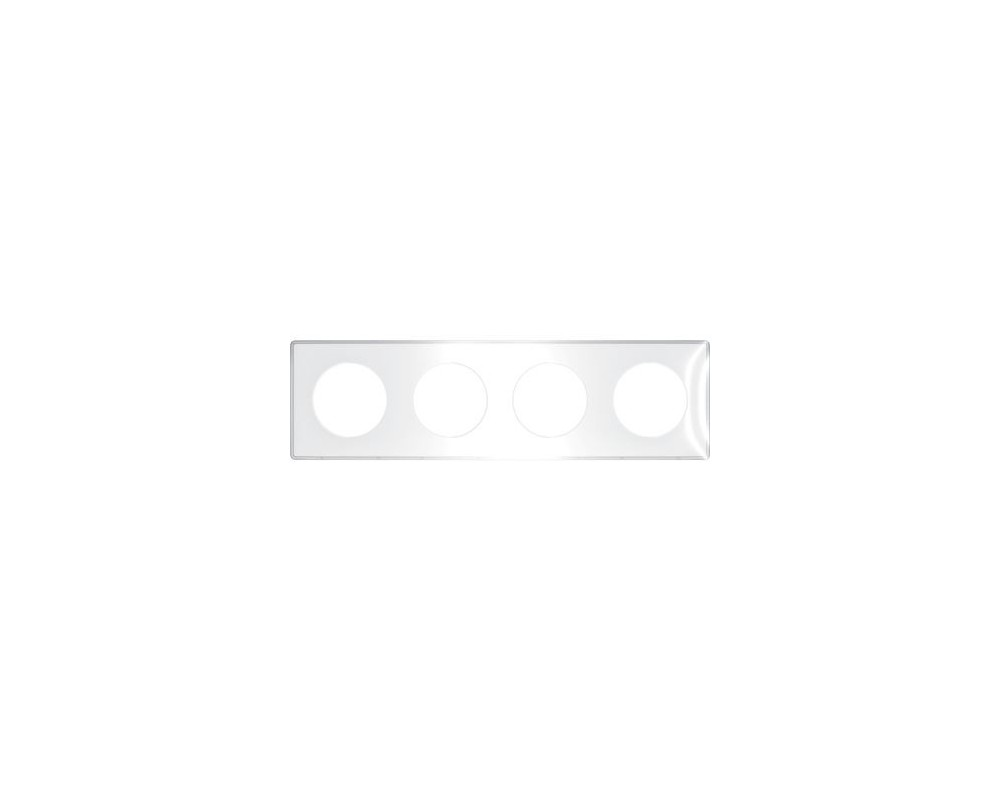 Odace You Transparent, plaque de finition support Blanc 4 postes entraxe 71mm - S520908W