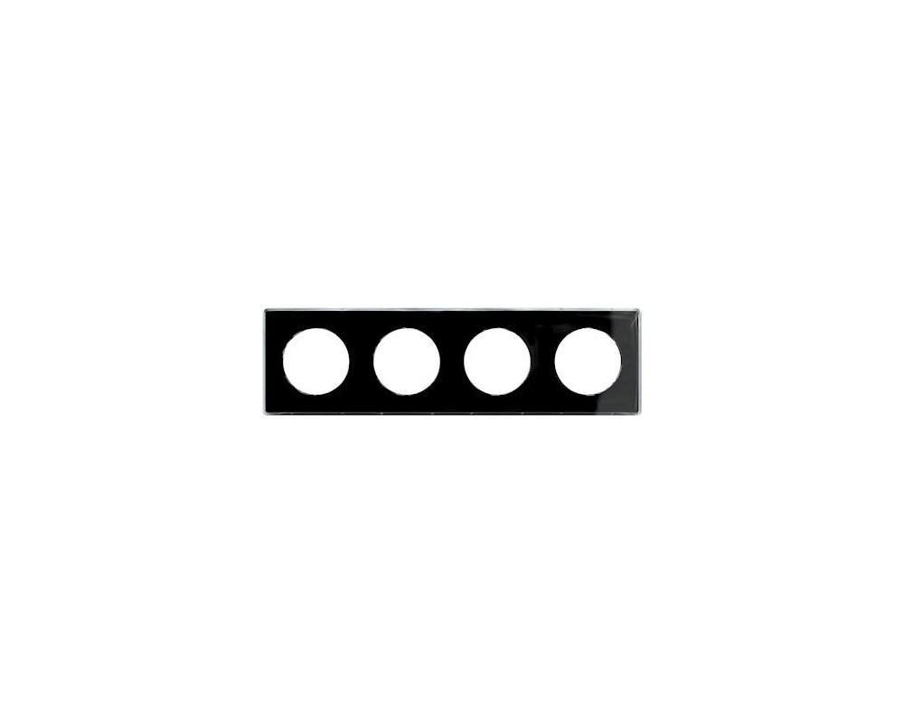Odace You Noir, plaque de finition support Blanc 4 postes entraxe 71mm - S520908Z