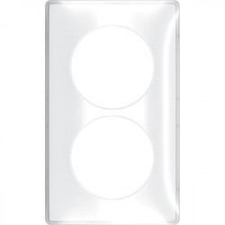 Odace You Transparent, plaque de finition support Blanc 2 postes entraxe 57mm - S520914W