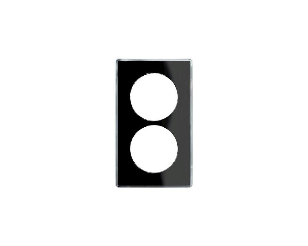 Odace You Noir, plaque de finition support Blanc 2 postes entraxe 57mm - S520914Z