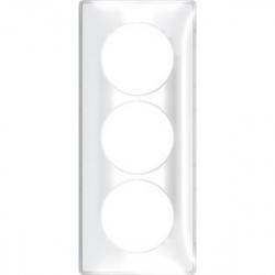 Odace You Transparent, plaque de finition support Blanc 3 postes entraxe 57mm - S520916W