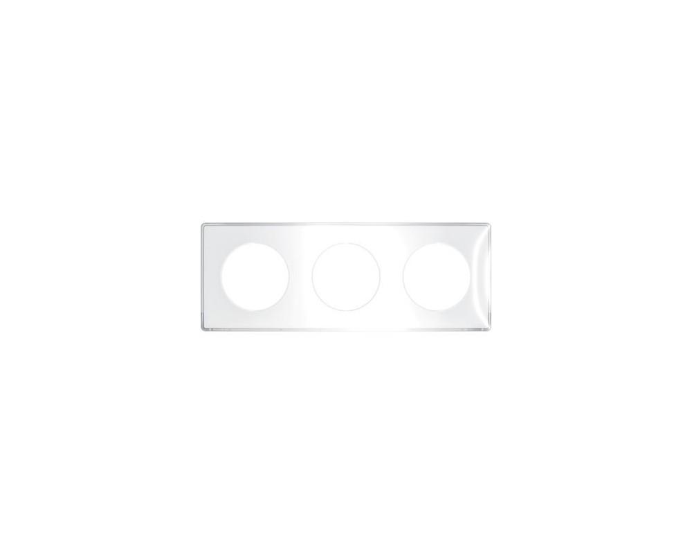 Odace You Transparent, plaque de finition support Blanc 3 postes entraxe 71mm - S520906W