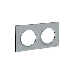 Odace Styl plaque Gris 2 postes horizontaux ou verticaux entraxe 71mm - S520704A1