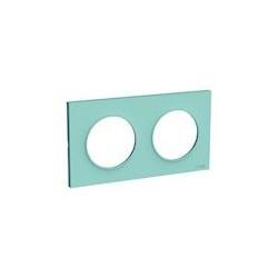 Odace Styl plaque Bleu Cian 2 postes horizontaux ou verticaux entraxe 71mm - S520704C
