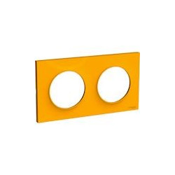 Odace Styl plaque Ambre 2 postes horizontaux ou verticaux entraxe 71mm - S520704G