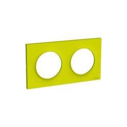 Odace Styl plaque Vert Chartreuse 2 postes horiz. ou verticaux entraxe 71mm - S520704H