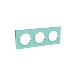 Odace Styl plaque Bleu Cian 3 postes horizontaux ou verticaux entraxe 71mm - S520706C