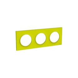 Odace Styl plaque Vert Chartreuse 3 postes horiz. ou verticaux entraxe 71mm - S520706H