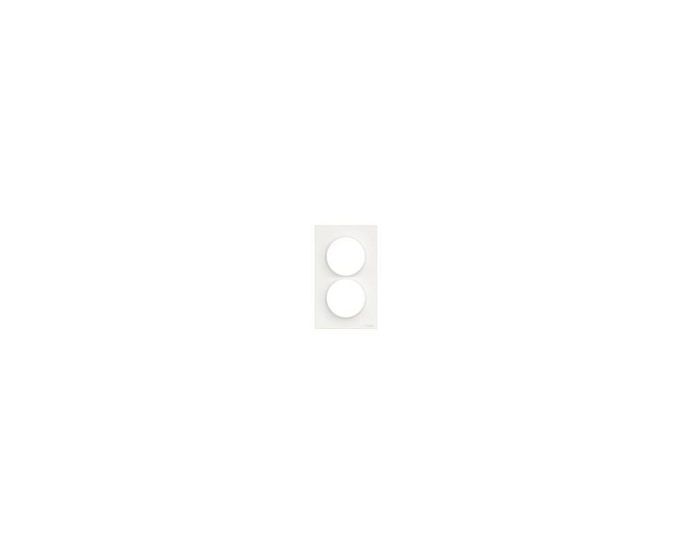 Odace Styl, plaque Blanc 2 postes verticaux entraxe 57mm - S520714