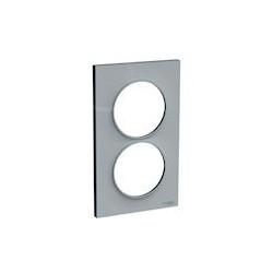 Odace Styl - plaque 2 postes - gris - entraxe 57mm vertical - S520714A1