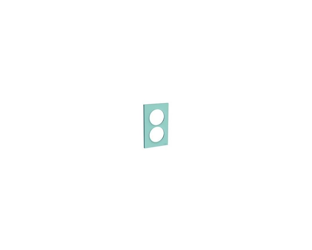 Odace Styl - plaque 2 postes - bleu cian - entraxe 57mm vertical - S520714C