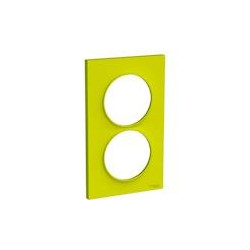 Odace Styl - plaque 2 postes - vert chartreuse - entraxe 57mm vertical - S520714H