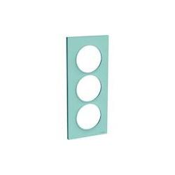 Odace Styl - plaque 3 postes - bleu cian - entraxe 57mm vertical - S520716C