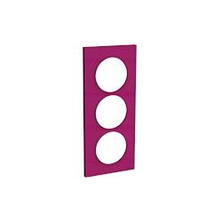Odace Styl - plaque 3 postes - violine - entraxe 57mm vertical - S520716D