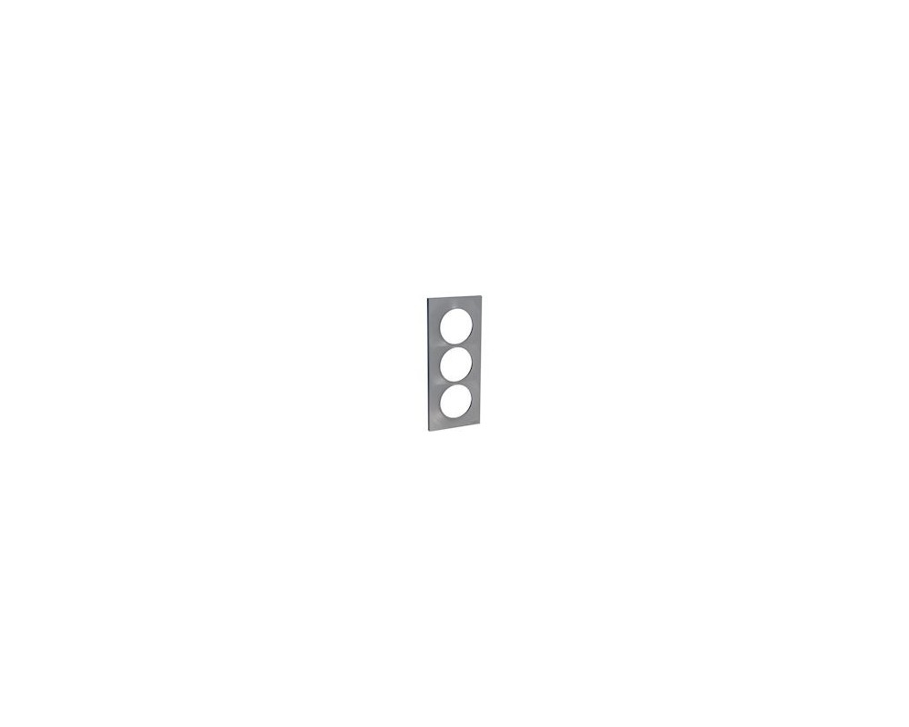 Odace Styl, plaque Alu 3 postes verticaux entraxe 57mm - S520716E