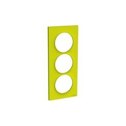 Odace Styl - plaque 3 postes - vert chartreuse - entraxe 57mm vertical - S520716H