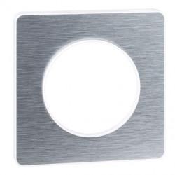 Odace Touch, plaque Aluminium brossé avec liseré Blanc 1 poste - S520802J
