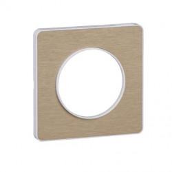 Odace Touch, plaque Bronze brossé avec liseré Blanc 1 poste - S520802L