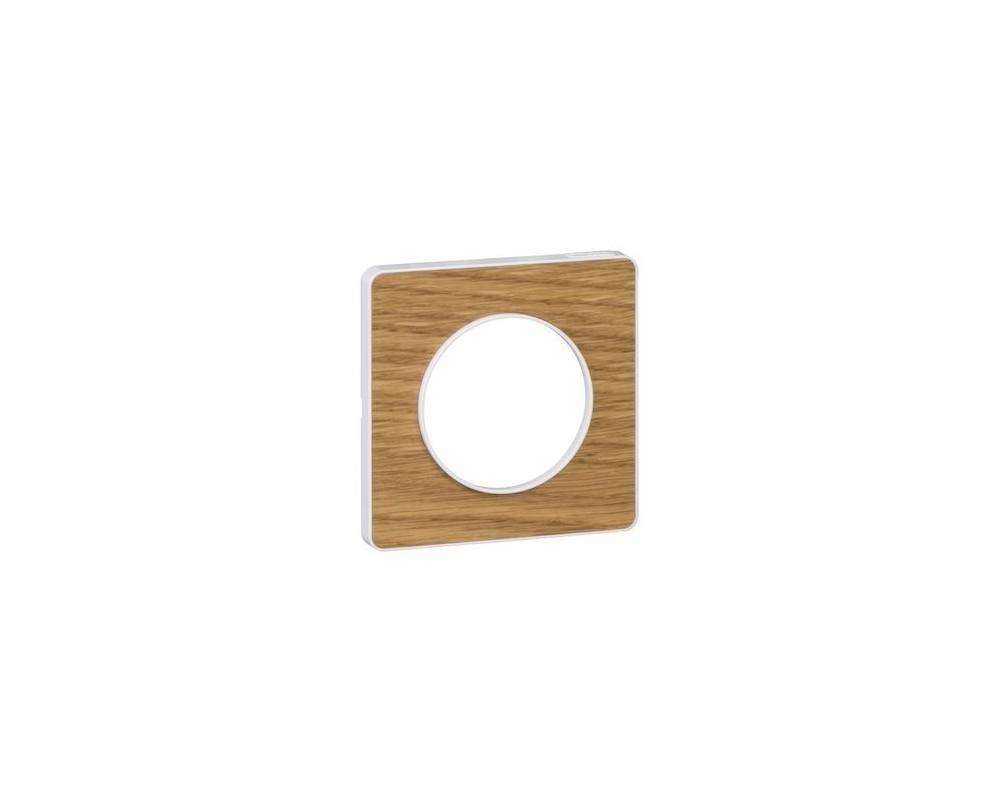 Odace Touch, plaque Bois naturel avec liseré Blanc 1 poste - S520802N
