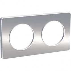 Odace Touch, plaque Aluminium brossé liseré Blanc 2 postes horiz./vert. 71mm - S520804J