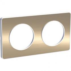 Odace Touch, plaque Bronze brossé liseré Blanc 2 postes horiz./vert. 71mm - S520804L