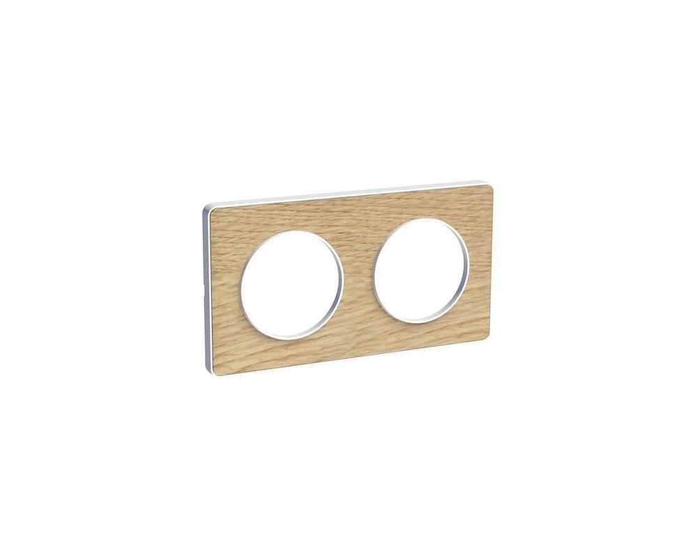 Odace Touch, plaque Bois naturel liseré Blanc 2 postes horiz./vert. 71mm - S520804N