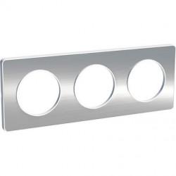 Odace Touch, plaque Aluminium brossé liseré Blanc 3 postes horiz./vert. 71mm - S520806J