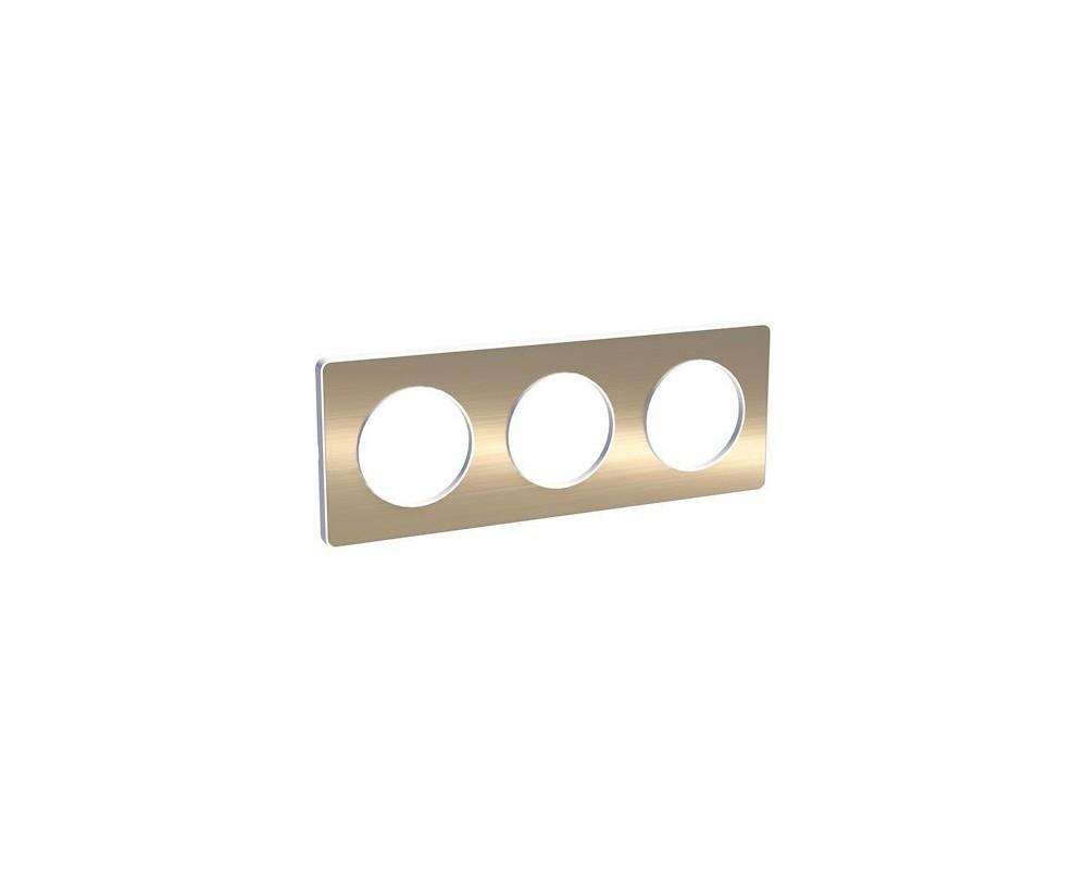 Odace Touch, plaque Bronze brossé liseré Blanc 3 postes horiz./vert. 71mm - S520806L