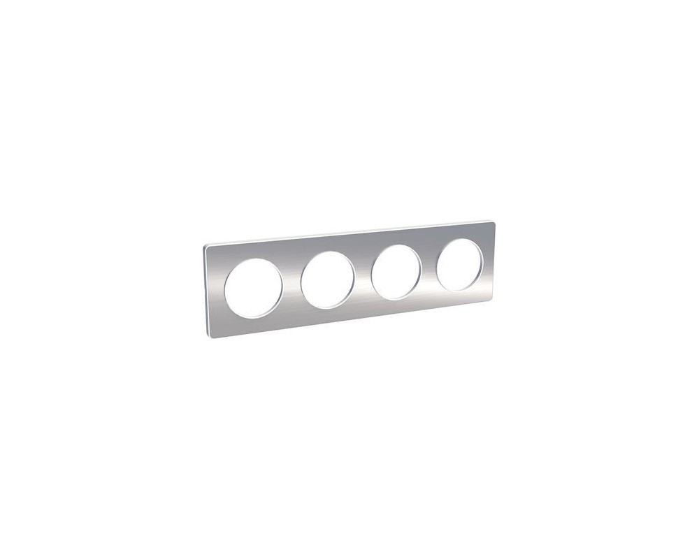 Odace Touch, plaque Aluminium brossé liseré Blanc 4 postes horiz./vert. 71mm - S520808J
