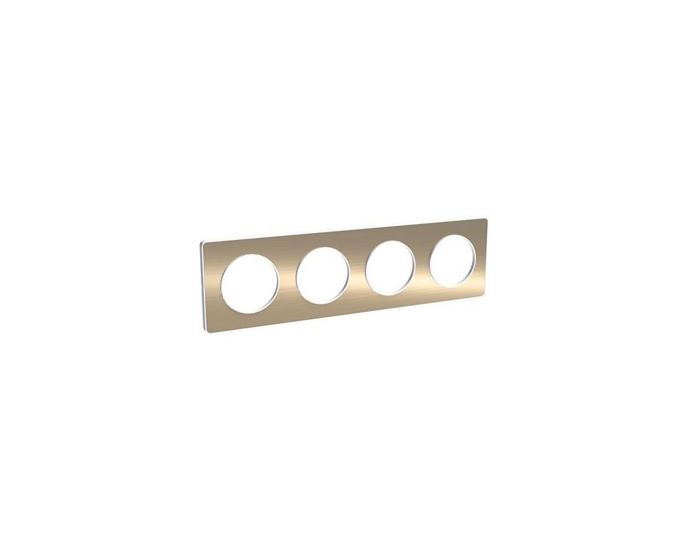 Odace Touch, plaque Bronze brossé liseré Blanc 4 postes horiz./vert. 71mm - S520808L