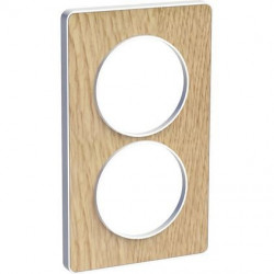 Odace Touch, plaque Bois naturel avec liseré Blanc 2 postes verticaux 57mm - S520814N