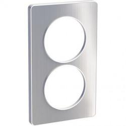 Odace Touch, plaque Aluminium brossé avec liseré Blanc 2 postes verticaux 57mm - S520814J